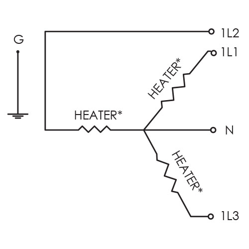 A CAST-X Circulation heater can be purchased with a single 3 phase wye circuit configured to 415 volts, 400 volts or 380 volts.