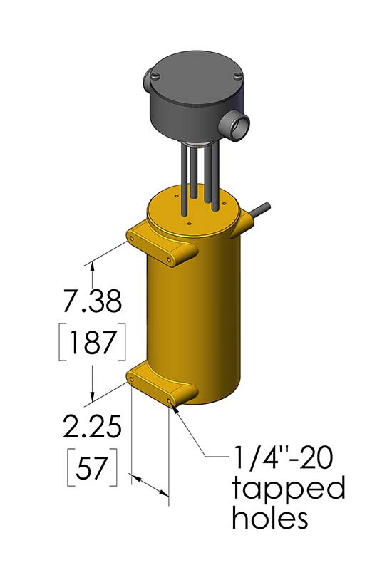 This illustration shows the dimensions of the CAST-X High Temperature 1000 Circulation Heater with a waterproof enclosure, NEMA 4 certified, and compatible with high-pressure fluid heating applications.