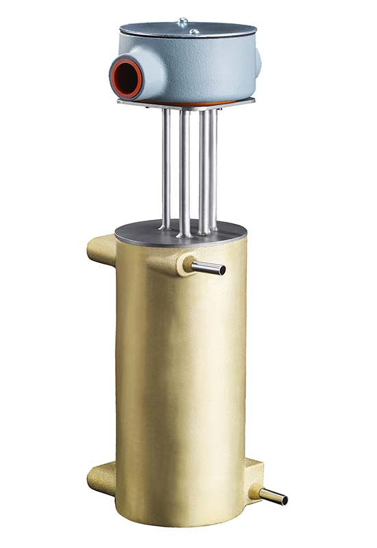 This shows the stainless steel tubes and waterproof housing on a CAST-X High Temperature 1000 Circulation Heater, used to heat air and increase fluid temperatures.