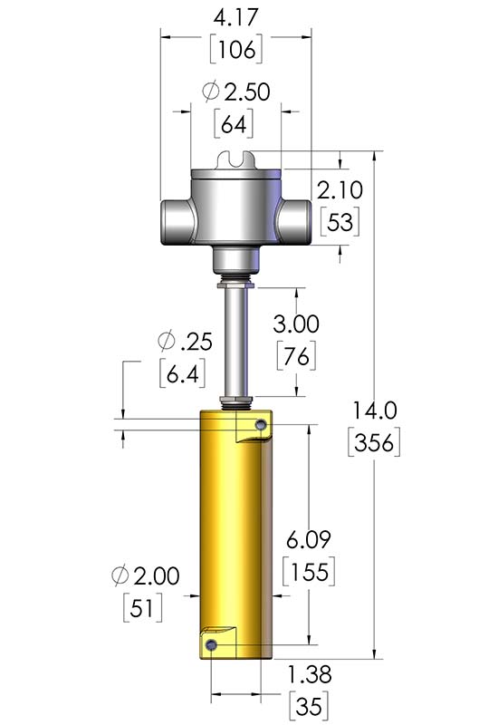 This image shows the dimensions of a CAST-X High Temperature 500 Circulation Heater with a NEMA 7 explosion proof housing, a premium-quality nitrogen heater manufactured by Cast Aluminum Solutions.