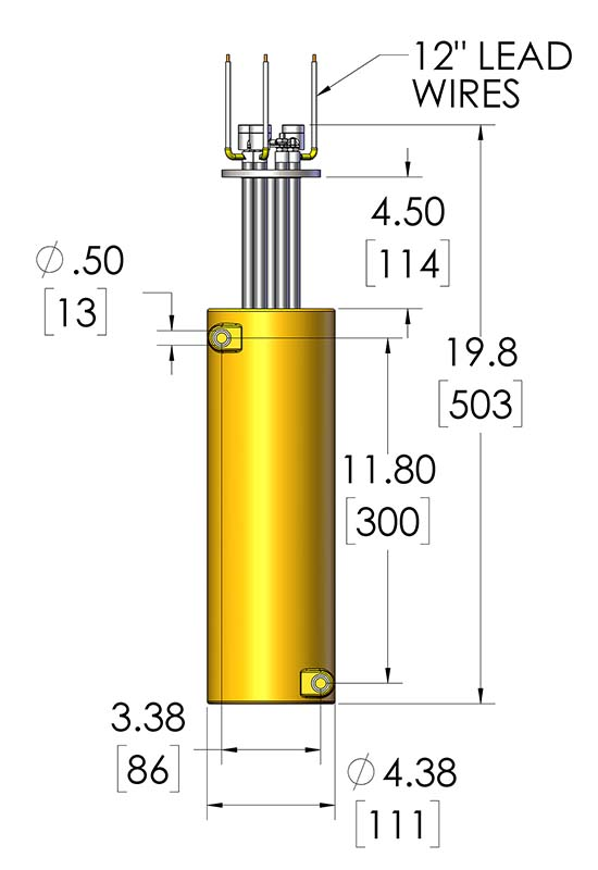 This image shows the dimensions of a high performance cryogenic heater called the CAST-X High Temperature 2000 Circulation Heater, sold by Cast Aluminum Solutions.