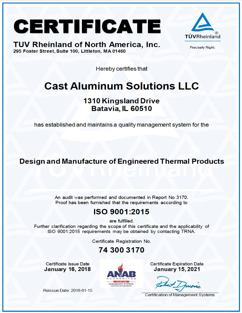 Cast Aluminum Solutions ISO Certificate 2018 Thumb