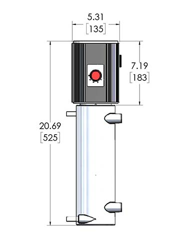 Product dimension data for CAST-X 2000 inline heater manufactured by Cast Aluminum Solutions in Batavia, IL, 60510.