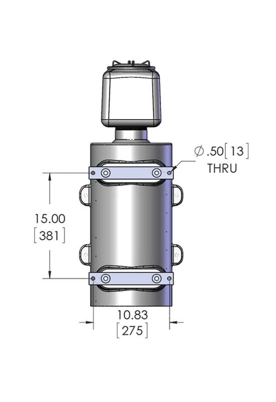 Dimensional diagram of a XP Circulation Heater, called the explosion proof CAST-X 4000, which shows ATEX Certified Class I and Class II Div 1 and 2 with UL listing.