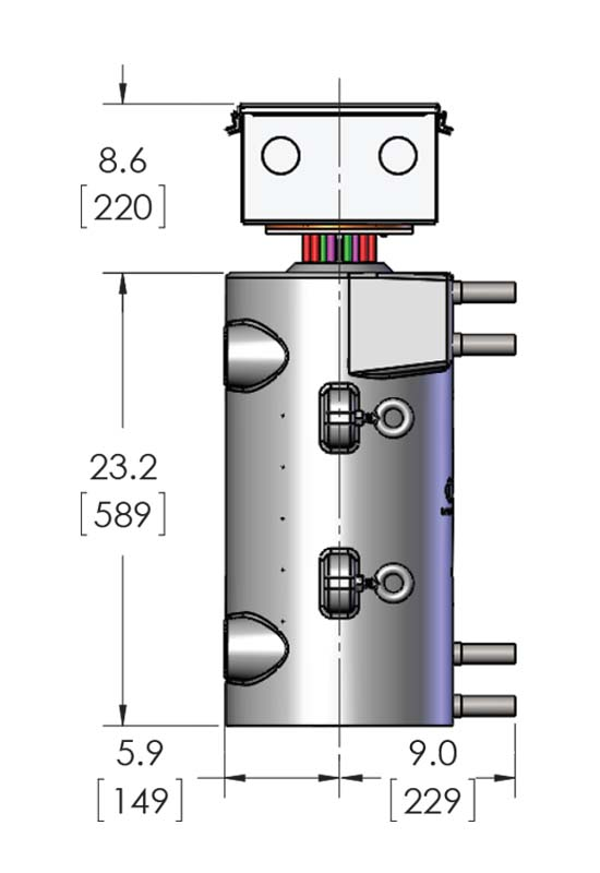 Dimensions for a CAST-X 4000 Circulation Heater product with NEMA 4 certified water proof accessories, sold by Cast Aluminum Solutions in Batavia.