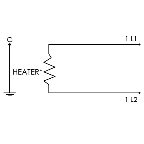 Diagram of single phase power circuit on a CAST-X 4000 Electric Circulation Heater, appropriate for CNG Heating applications.