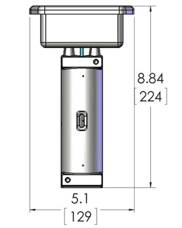 Product dimensions for CAST-X 500 inline fuel heater that warms diesel oil, natural gas, and flammable fluids.