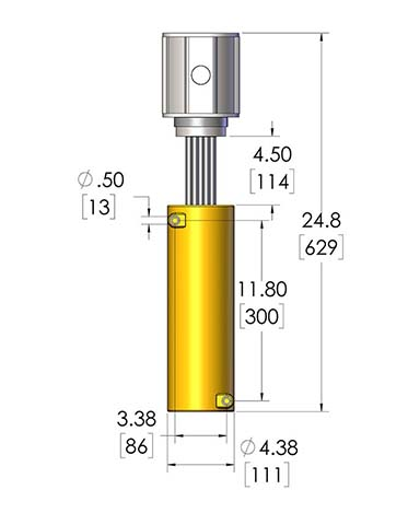 This CAST-X HT 2000 Cryogenic Gas Heater is compatible with high pressure vaporization, as this dimensional diagram shows.