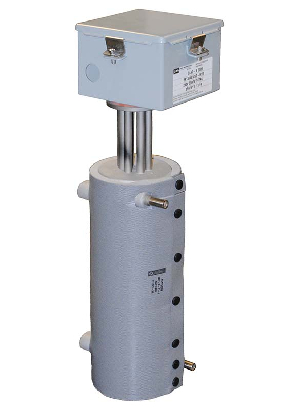 This CAST-X 2000 inline water resistant heater is capable of heating fluids, gases and liquids, and it is available worldwide from Cast Aluminum Solutions LLC.