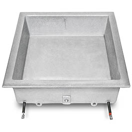 Here is a heated water reservoir for food warming, made by Cast Aluminum Solutions, who also supplies griddles & grills to the foodservice industry.