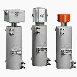These cryogas heaters for vaporizing liquid gases and valve frost prevention are called CAST-X products, made by Cast Aluminum Solutions.
