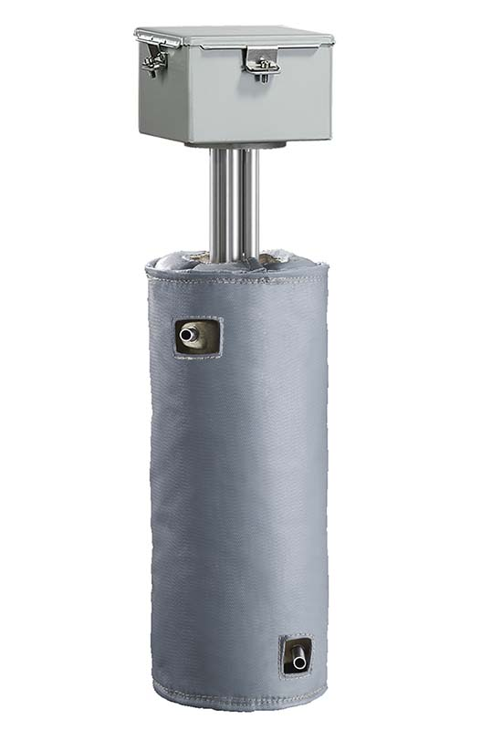 High temp cryogenic heaters require insulating jackets, as seen here, with the CAST-X High Temp 2000 Circulation Heater by Cast Aluminum Solutions in Batavia IL USA.