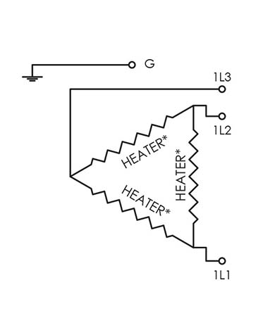 Electric diagram for CAST-X 2000 inline heater for circulation applications, featuring isolated SST wetted surfaces and sold by CAS in Batavia, IL.