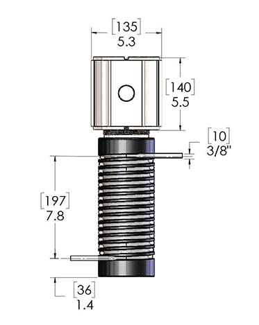 Here are product dimensions for PUR-X 1000 Chemical Heaters, a type of inline circulation heater, made by Cast Aluminum Solutions.