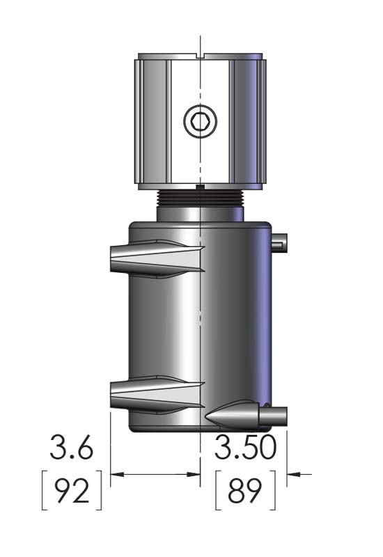 This shows product measurements for the Universal Solvent Heater, a product designed to warm H2SO4 and photoresist strippers using SST wetted surfaces, and made by Cast Aluminum solutions in Batavia Illinois.