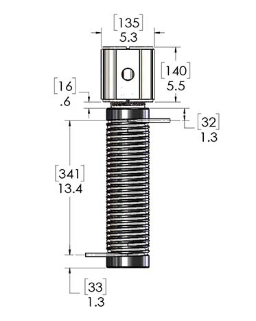 Product dimensions for a PUR-X 2000 high purity heater, with a PFA flowtube and Teflon surface, sold by CAS.