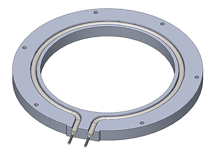 Example of specialty industrial heated ring, supplied by Cast Aluminum Solutions.