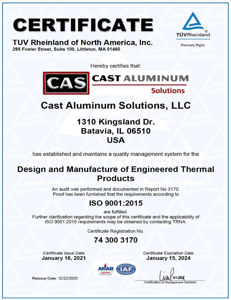 Cast Aluminum Solutions ISO Certificate 2021 2024